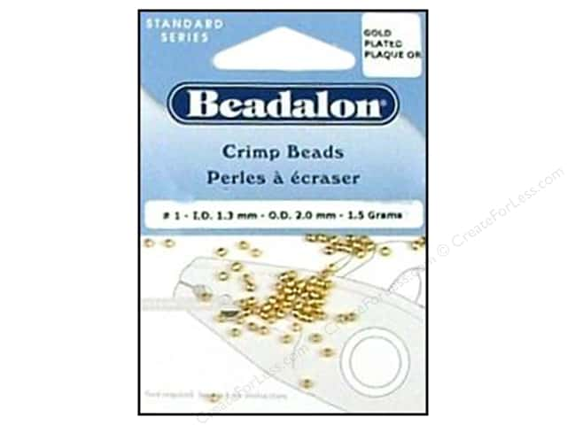 Beadalon Crimp Beads 2 mm Gold .05 oz.