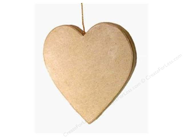 Paper Mache Flat Heart Ornament by Craft Pedlars (3 pieces)