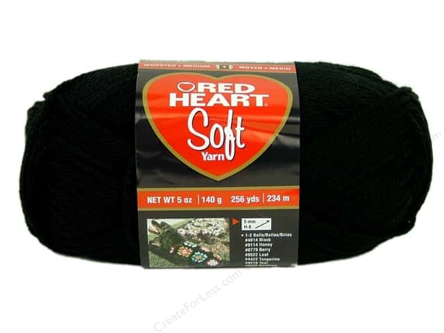 Red Heart Soft Yarn #4614 Black 256 yd.