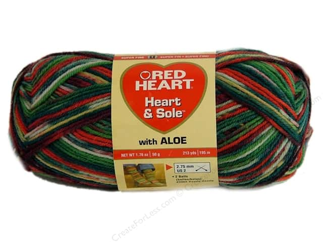 Red Heart Heart & Sole Yarn #3973 Christmas 213 yd.