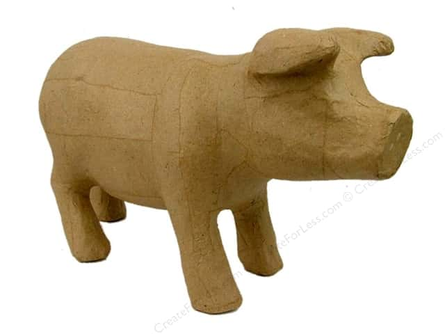Paper Mache Standing Pig by Craft Pedlars