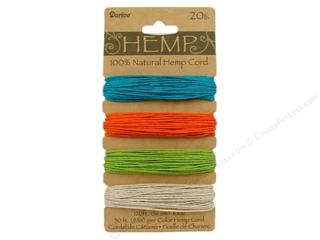 Darice Cord Hemp Set 20lb 4x30' Brights