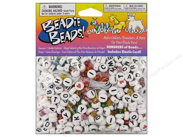 Darice Beads Beadie Beads Alphabet White 300pc