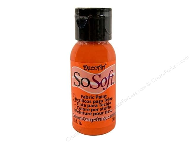 DecoArt SoSoft Fabric Paint 1.15 oz. #04 Cadmium Orange