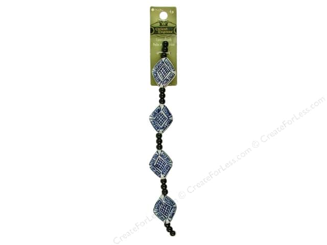 Blue Moon Beads Orient Express Strand Ceramic Flat Diamond Blue/White