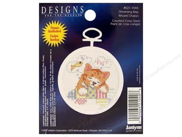 "Janlynn Cross Stitch Kit 2.5"" Round Dreaming Kitty"