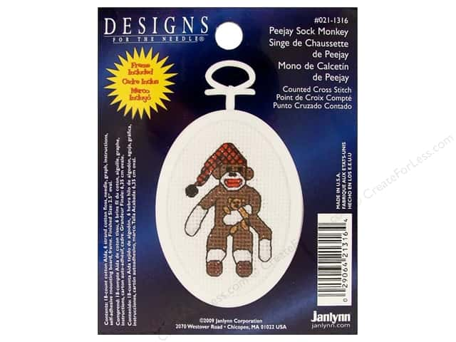 "Janlynn Cross Stitch Kit 2.25"" Oval Sock Monkey"