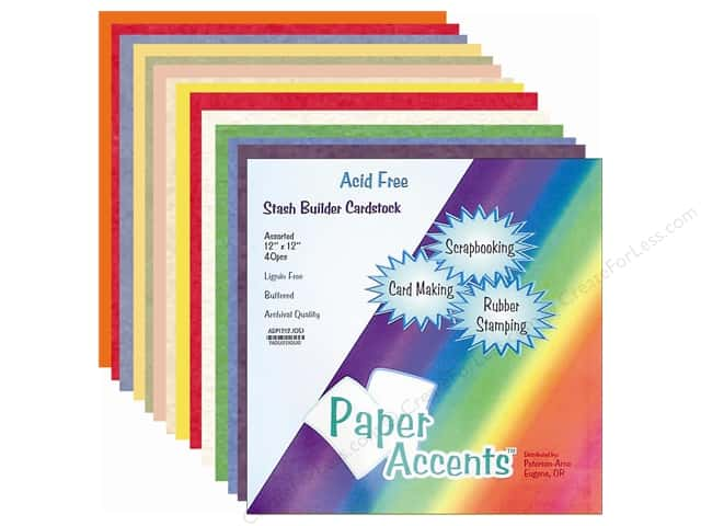 Cardstock Variety Pack 12 x 12 in. Stash Builder Assorted 40 pc. by Paper Accents