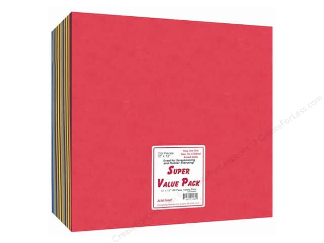 Cardstock Super Value Variety Pack 12 x 12 in. 150 pc. by Paper Accents