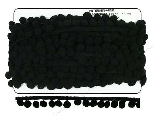 "Cheep Trims Pom Pom 1/2"" Fringe 1"" Black (18 yards)"