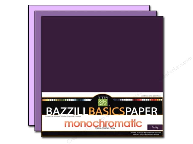 "Bazzill Multi Pack 12""x 12"" Trio 15pc Pansy"