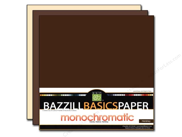 "Bazzill Multi Pack 12""x 12"" Trio 15pc Chocolate"