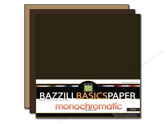 "Bazzill Multi Pack 12""x 12"" Trio 15pc Brown"