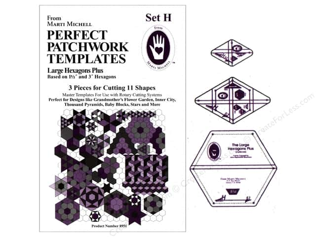 Marti Michell Template Set Perfect Patchwork H Large Hexagon +