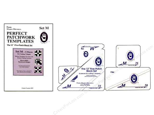 """Marti Michell Template Set Perfect Patchwork M 12"""" 5-Patch Block"""