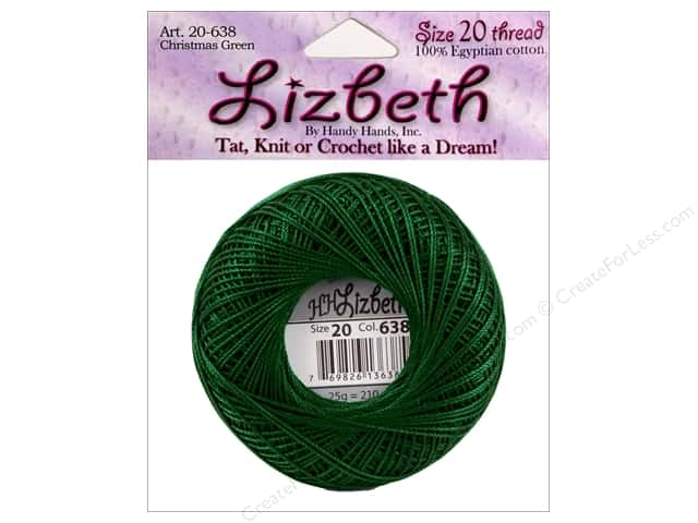 Handy Hands Lizbeth Tat Thread Size 20 Christmas Green