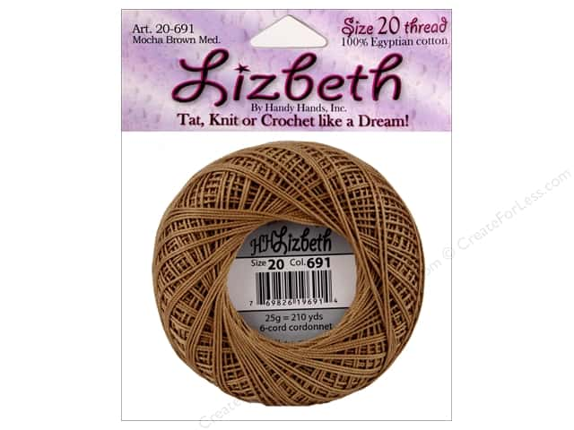 Lizbeth Thread Size 20  #691 Mocha Brown Medium