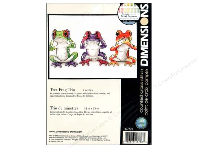 "Dimensions Cross Stitch Kit  7""x 5"" Tree Frog Trio"