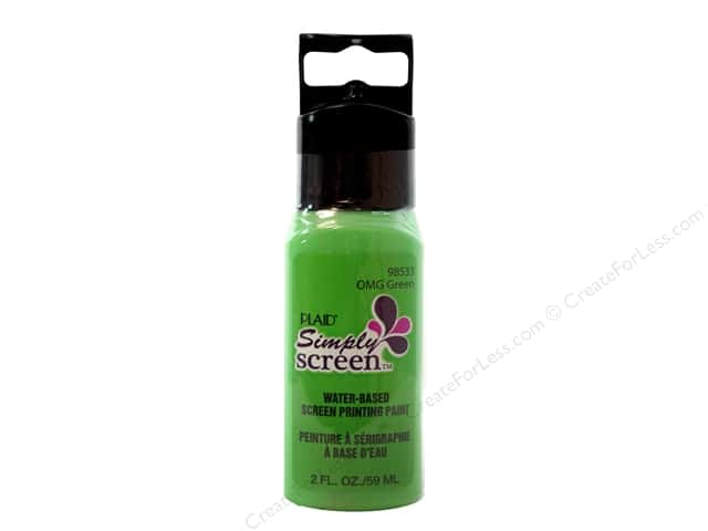 Plaid Simply Screen Paint 2 oz. OMG Green