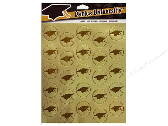 Darice Sticker Envelope Seal Foil Graduation Hat Gold 50pc