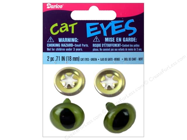 Darice Eyes Cat 18mm with Washer Green 2pc (3 packages)