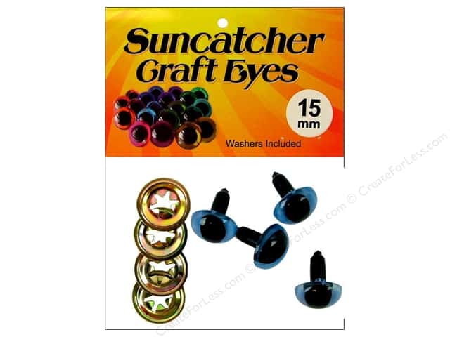 Suncatcher Craft Eyes Cat 15mm Shimmer Sky Blue 2pr