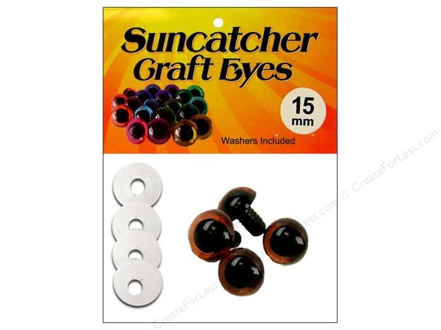 Suncatcher Craft Eyes Translucent 15mm Brown 2pr