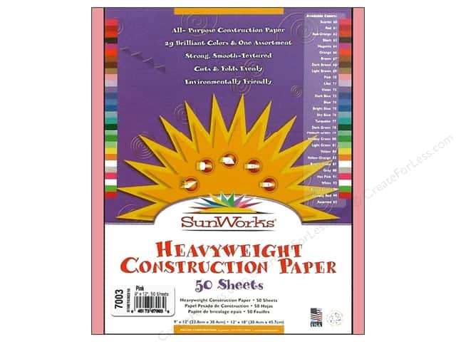 "Sunworks Construction Paper 9x12"" Pink 50pc"