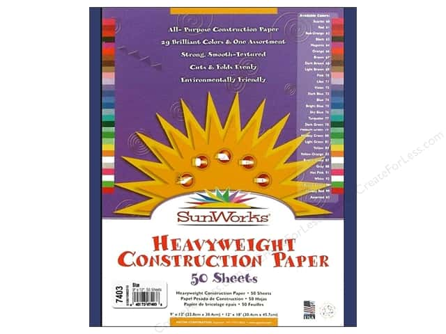 "Sunworks Construction Paper 9x12"" Blue 50pc"