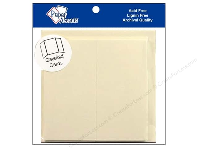 "Paper Accents Card & Envelopes Gate Fold 6""x 6"" Cream 5pc"