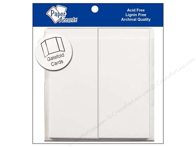 "Paper Accents Card & Envelopes Gate Fold 6""x 6"" White 5pc"