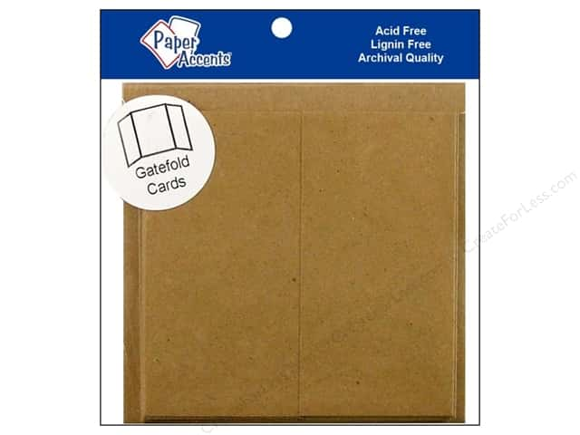"Paper Accents Card & Envelopes Gate Fold 6""x 6"" Brown Bag 5pc- 100% Recycled paper"