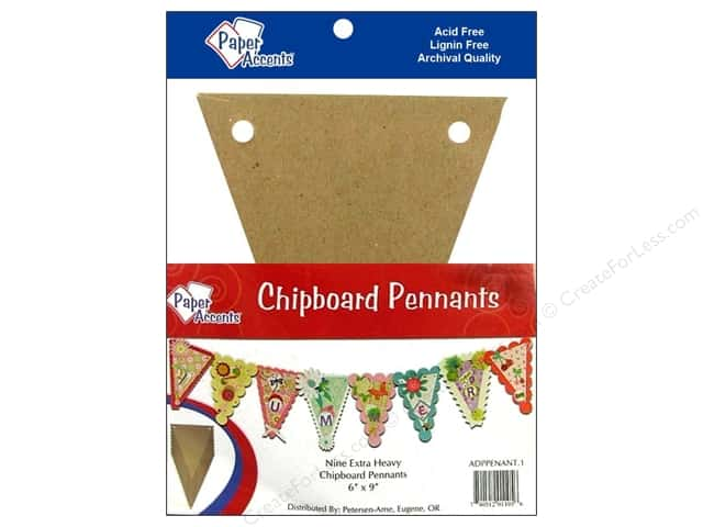 "Paper Accents Chipboard Pennants 6""x 9""Natural 9pc"