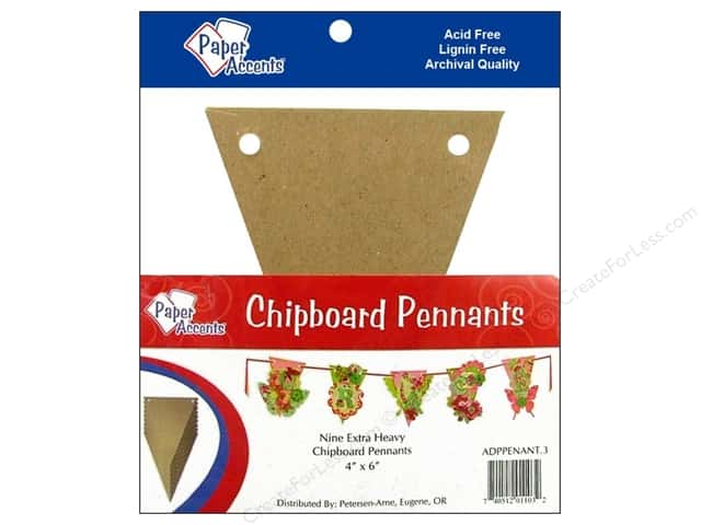 Paper Accents Chipboard Pennants 4 x 6 in. 9 pc. Kraft