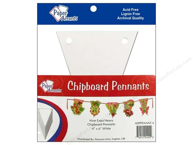 "Paper Accents Chipboard Pennants 4""x 6"" White 9pc"
