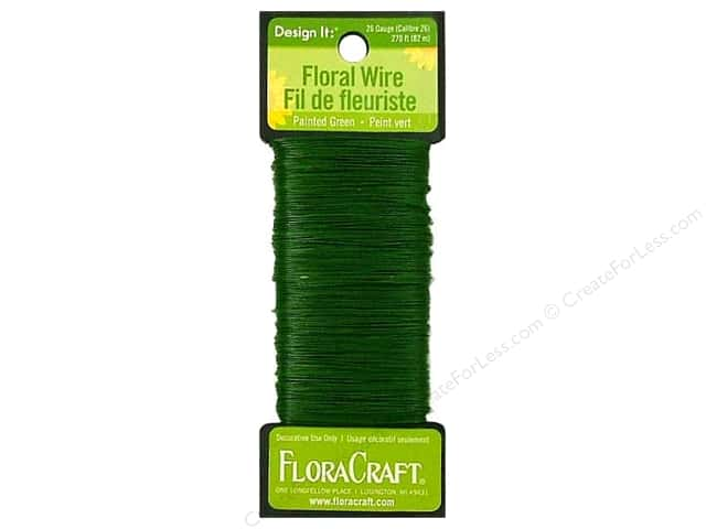 FloraCraft Floral Wire Paddle 26ga Green 270'