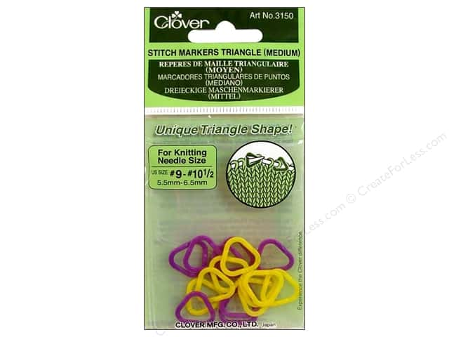 Clover Stitch Markers Triangle Medium Sz 9-10.5 16pc
