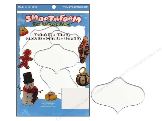 "Smoothfoam Ornament Flat Package 2.25"" White 4pc"