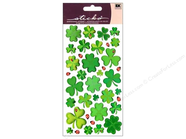 EK Sticko Stickers Sparkler Four Leaf Clovers