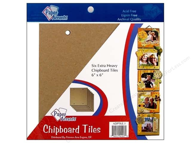 "Paper Accents Create Your Own Chipboard Tiles 6""x 6"" Chip 6pc"