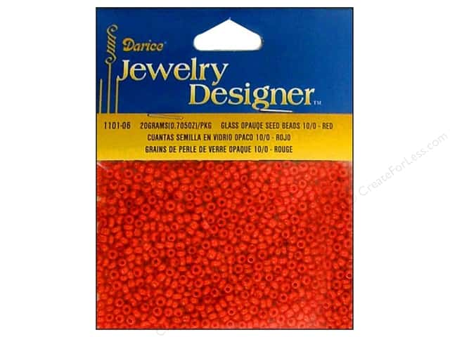 Darice Beads Jewelry Designer Seed 10/0 Opaque Red