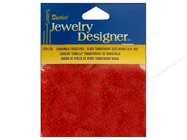 Darice Beads Jewelry Designer Seed 10/0 Transparent Red
