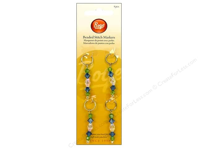 Boye Yarn Accessories Stitch Markers Beaded Blue 4pc