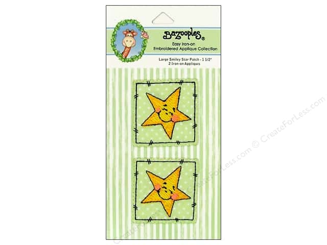 Bazooples Iron On Applique Large Smiley Star