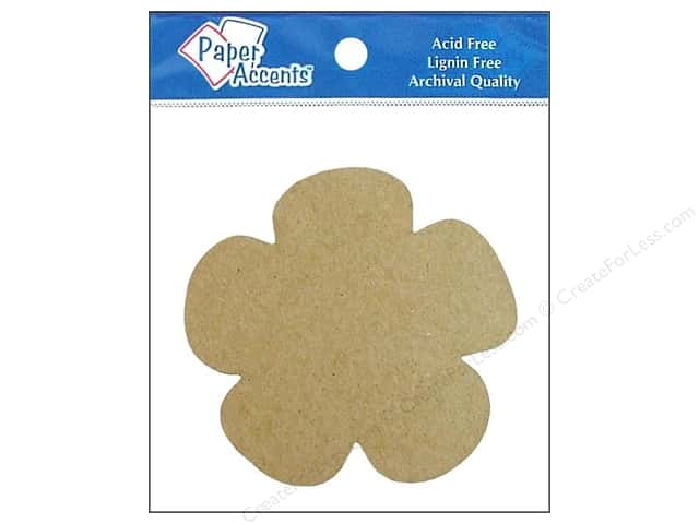 Paper Accents Chip Shape Flower Natural 8pc