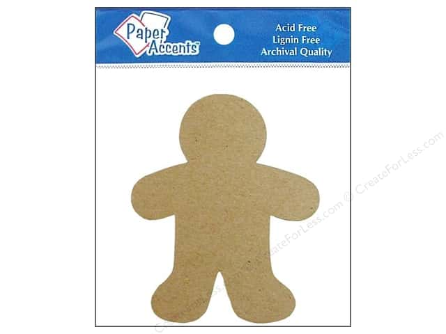 Paper Accents Chipboard Shape Gingerbread Man 8 pc. Kraft