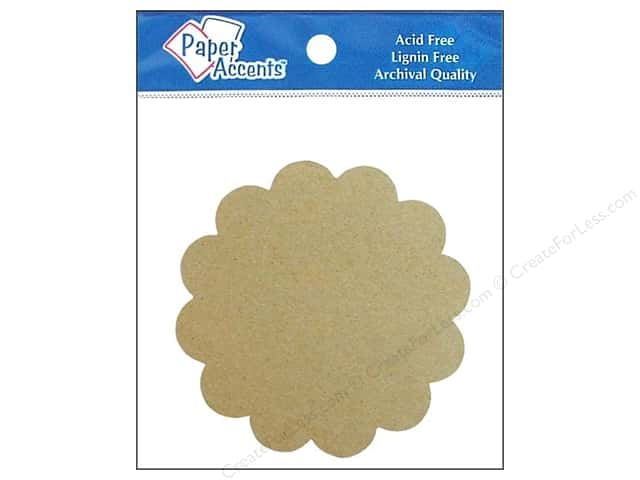 Paper Accents Chipboard Shape Scalloped Circle 8 pc. Kraft