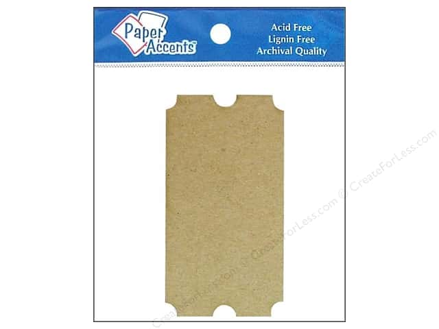 Paper Accents Chipboard Shape Ticket 8 pc. Kraft