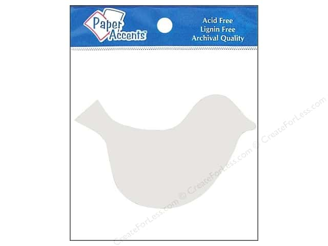 Paper Accents Chip Shape Bird White 8pc