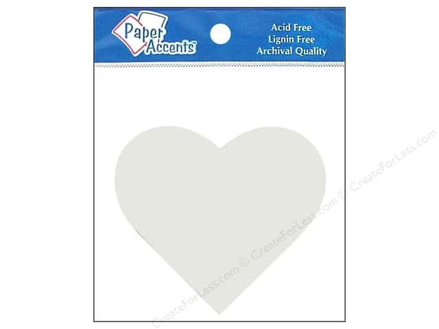 Paper Accents Chip Shape Heart White 8pc